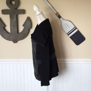 Jones New York Sweaters - Faux leather zip up sweater